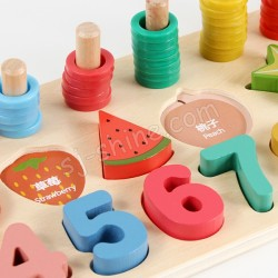 WOODEN COUNTING SHAPE STACKER (數字水果板)