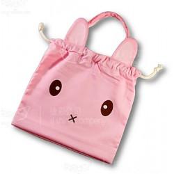 小兔 木棉袋系 (粉紅色)  (束口袋)