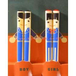 BOY & GIRL CHOPSTICKS SET (BLUE)