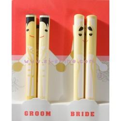GROOM & BRIDE CHOPSTICKS SET (WHITE)