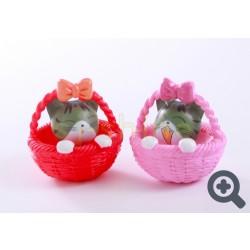 小擺設 花籃的小貓 (粉紅色或紅色)