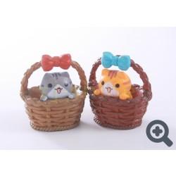 小擺設 花籃的小貓 (啡色或灰色小貓)
