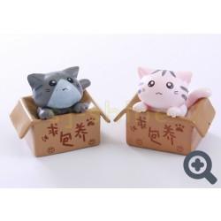 小擺設 紙箱的小貓 (白色或灰色小貓)