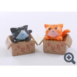 小擺設 紙箱的小貓 (黑色或啡色小貓)